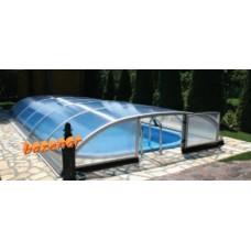Streha za bazen Simple set 627 notranja mera ( 6.27m x 3,32m ) Silver prednja vrata
