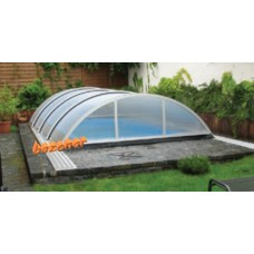 Streha za bazen Simple high set 627 notranja mera ( 6.27m x 3,32m ) Silver prednja vrata